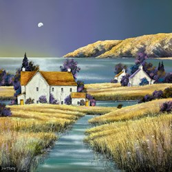 Mill House Stream by John Mckinstry - Original Painting on Stretched Canvas sized 30x30 inches. Available from Whitewall Galleries